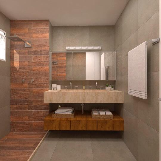 Bathroom decorated to suit both styles of the couple in decor.
