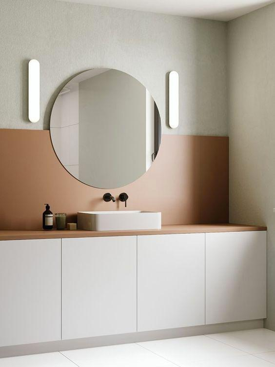 Bathroom with a clean look: straight colors and sober colors