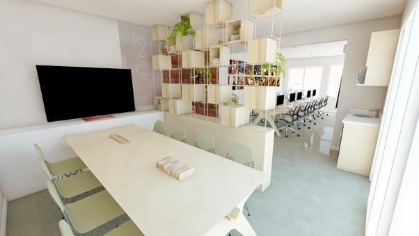 Bookcase that divides the meeting room.