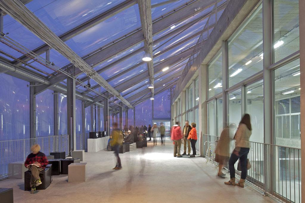 Building with polycarbonate roof.