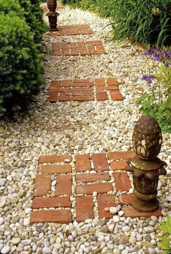 Garden floor covered with pebble stone.