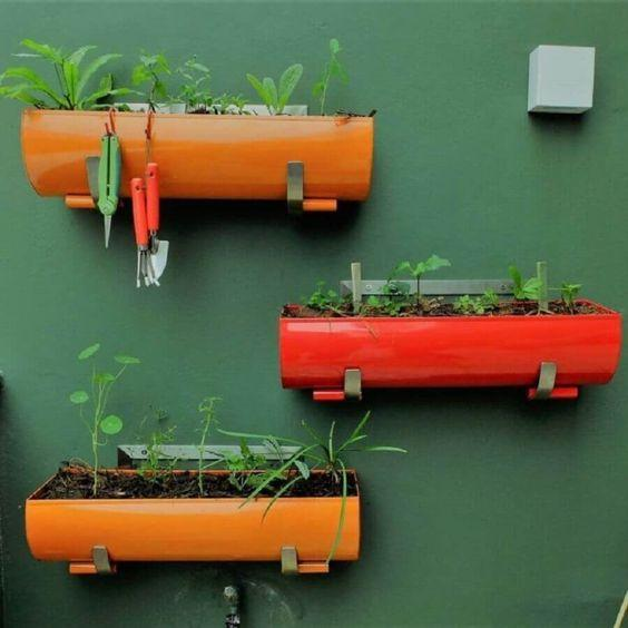Garden in recycled planters.