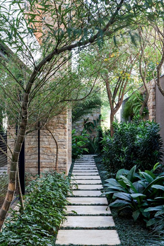 Garden with marble plates path.