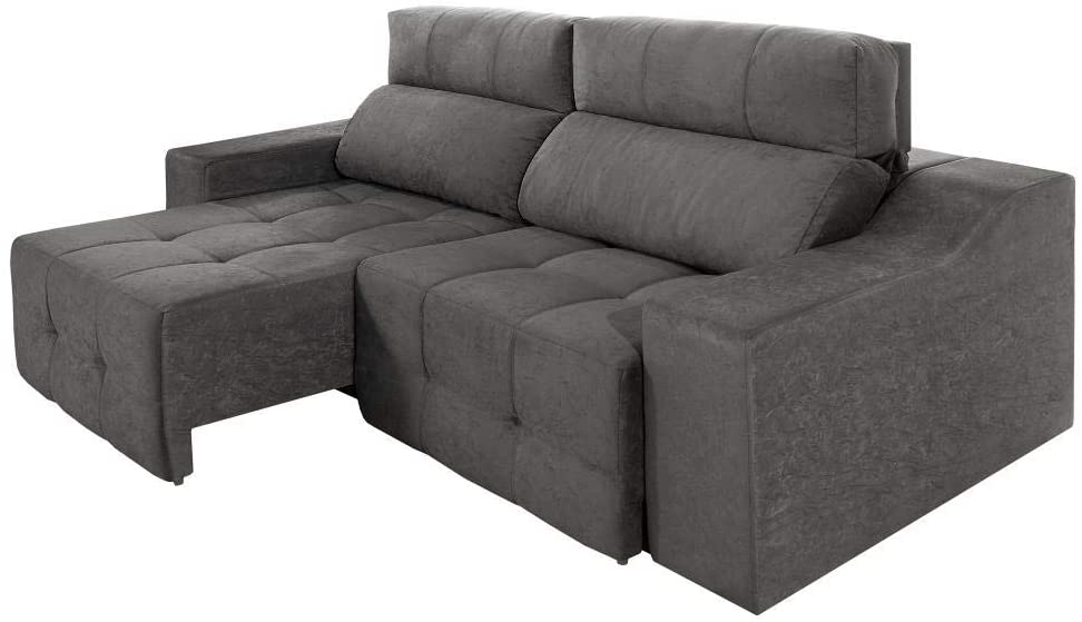 Gray three-seater sofa with seat extender.