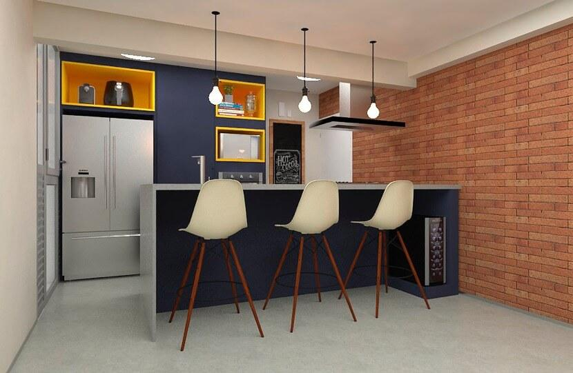 Kitchen integrated with Living to suit both styles of the couple in decoration.
