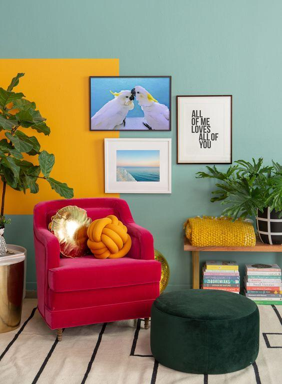 Living room with colored wall.
