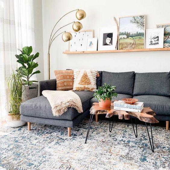 Neutral living room with a wooden coffee table.