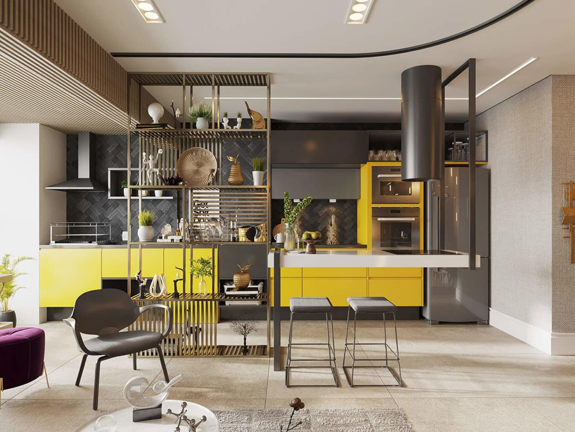 Open kitchen integrated into the apartment.