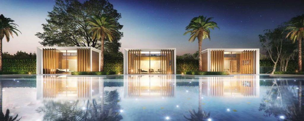 Pool area with luxury private constructions.