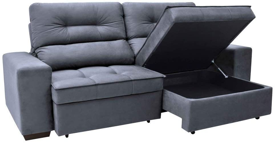 Retractable sofa with chest in gray color.