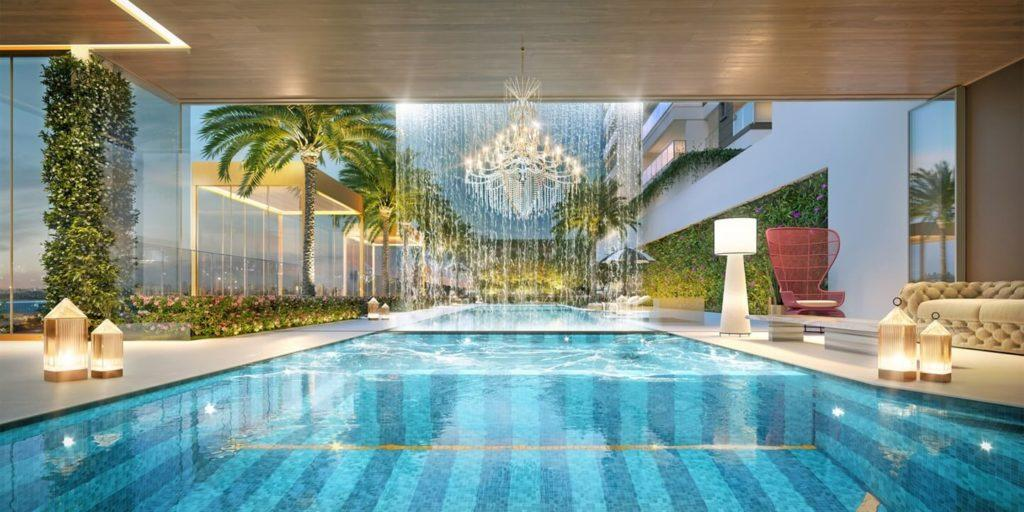 Swimming pools with waterfall and luxury interior design.