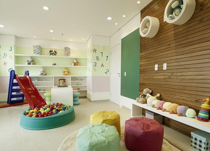 The use of colored leather adds a playful touch to the decor.